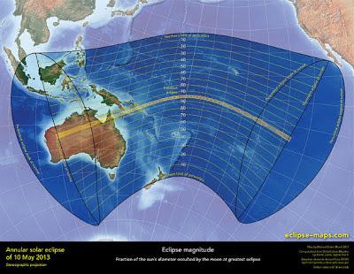 Visibilidad eclipse solar 09 y 10 de mayo 2013
