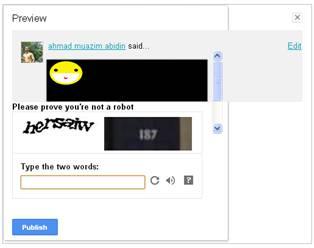 Aktifkan fitur verifikasi pada blogger.com untuk mencegah komentar SPAM.