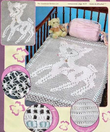 Patrón de Manta para cuna con diseño de Bambi al crochet