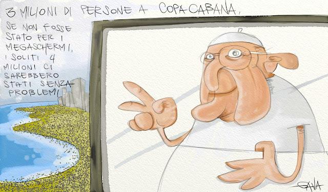 Gava gavavenezia satira vignette illustrazione caricatura fumetto ridere gavagnin marco illustratore disegno  papa copacabana francesco bergoglio brasile