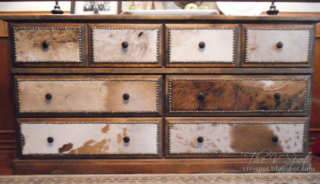 cowhide, dresser, dresser re-do, studded dresser