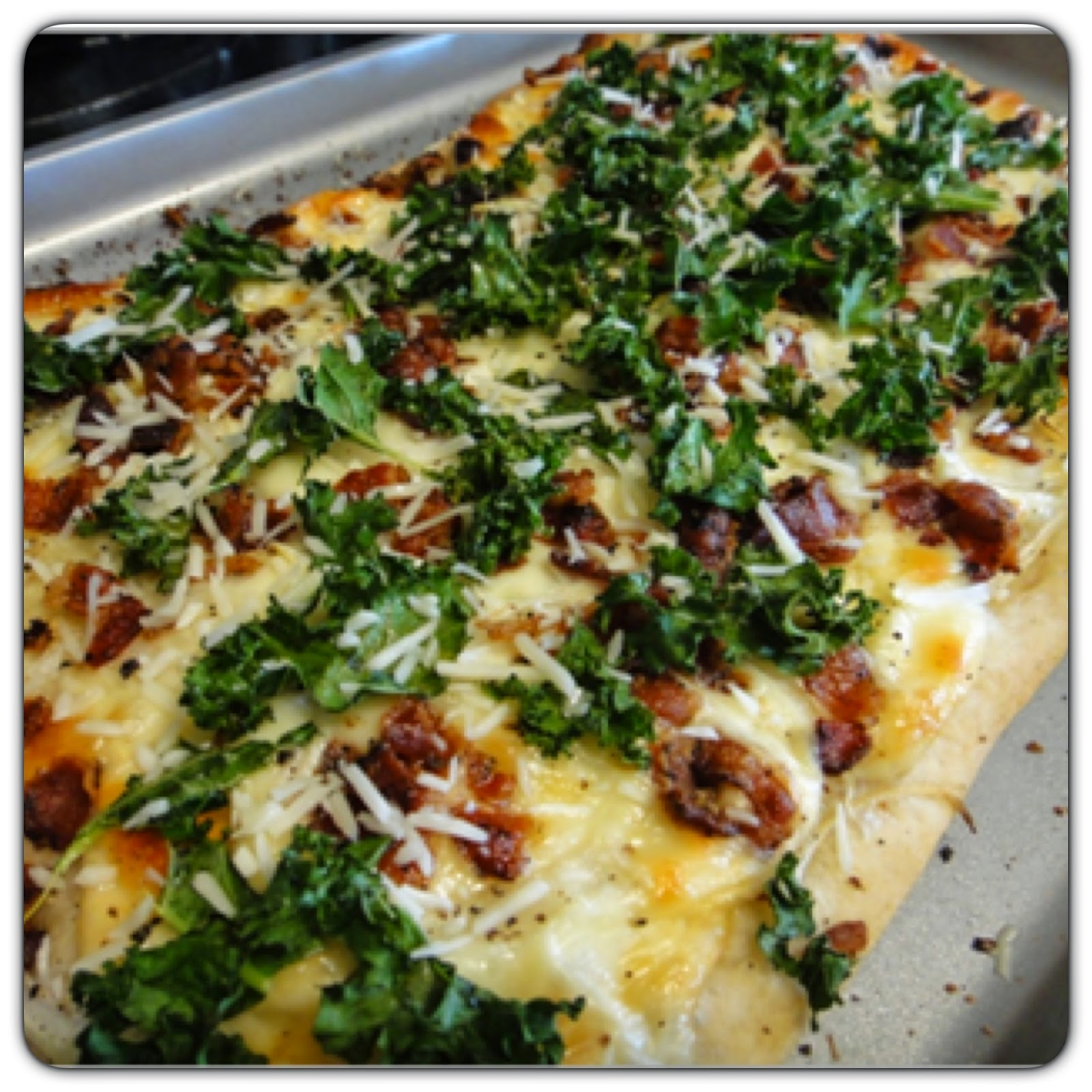 Pizza recipe, bacon, kale