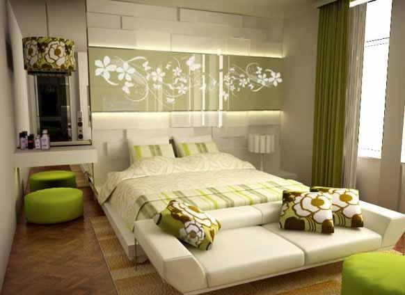 Desain Kamar Tidur Warna Hijau