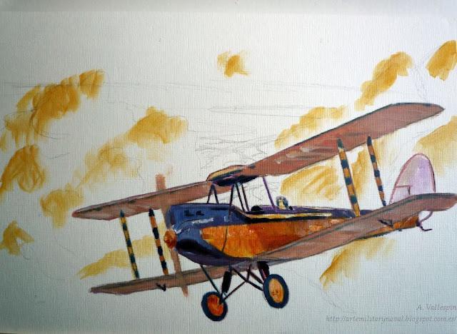 Óleo de un biplano De Havilland  - segunda sesión