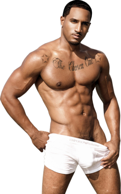 hot black man, perfect abs, dirty pose, tatoo on black man