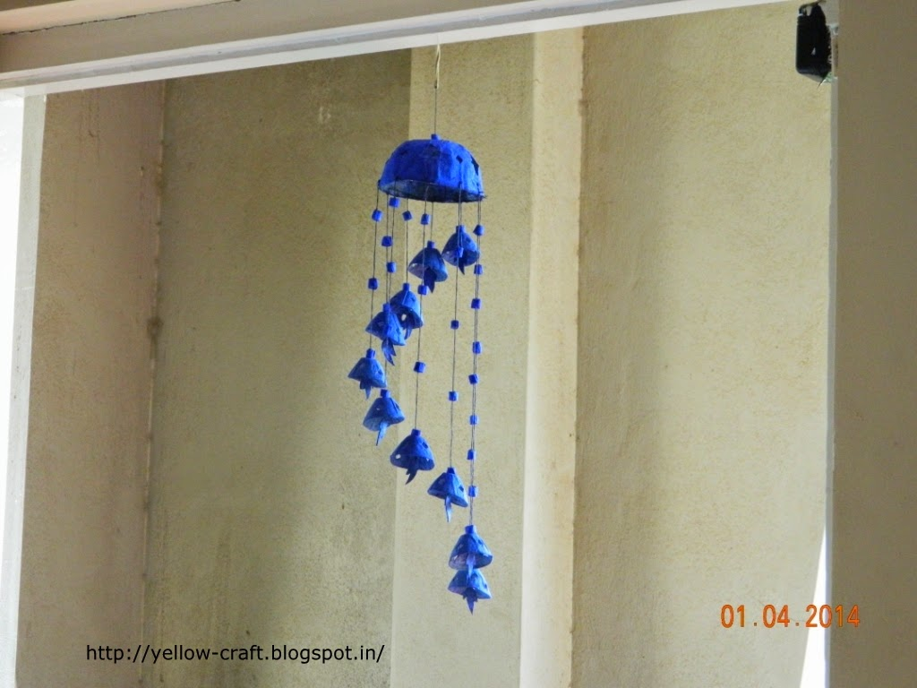 Egg carton wind chime tutorial yellow craft for Hand works with waste things