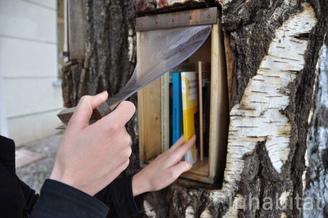 There are a few shelves in each of the trees, with plastic covers to protect the books from any bad weather. - A Neighborhood In Germany Has An Awesome Book Exchange Inside Of Trees