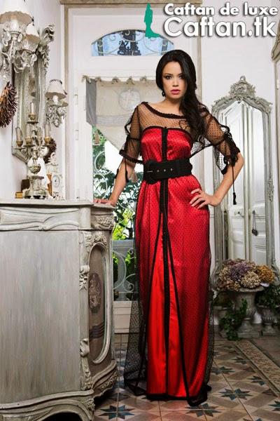 Robe de soirée plumetis noire & rouge