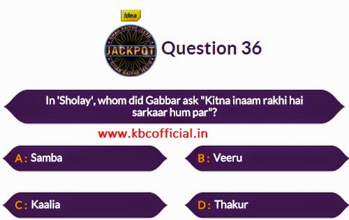 Ghar Baithe Jeeto Jackpot Question No 36 - Episode no 31 Dated 8th October