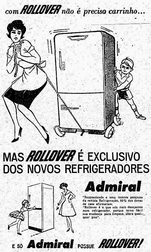 Propaganda do refrigerador Admiral com rocinhas. Produto batizado de Rollover para facilitar a vida da dona de casa.