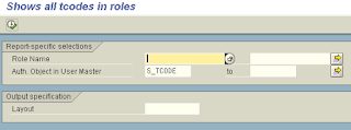 SAP transaction codes in all roles