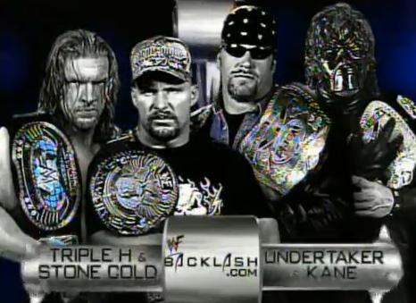 Resultado de imagem para triple h stone cold vs undertaker kane backlash 2001