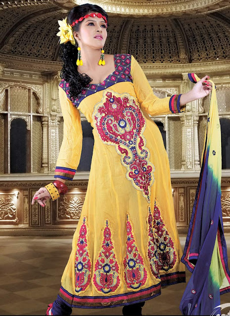 Yellow Churidar Suits www.fashion-beautyzone@blogspot.com