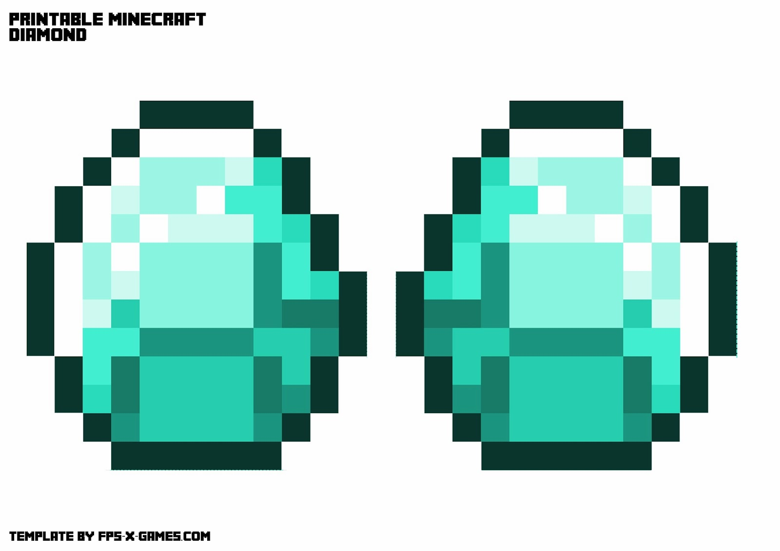 Printable Minecraft Diamond Necklace Template