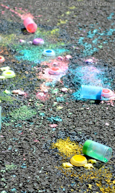 Sidewalk Chalk Rockets- the chalk filled rocket flies through the air creating beautiful exploding art effects on the pavement