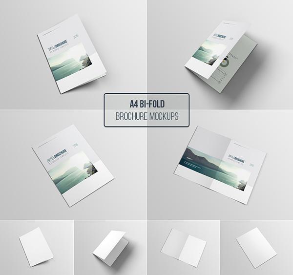 Download Gratis Mockup Majalah, Brosur, Buku, Cover - Free A4 Bifold Brochure Mock-up Template Photoshop
