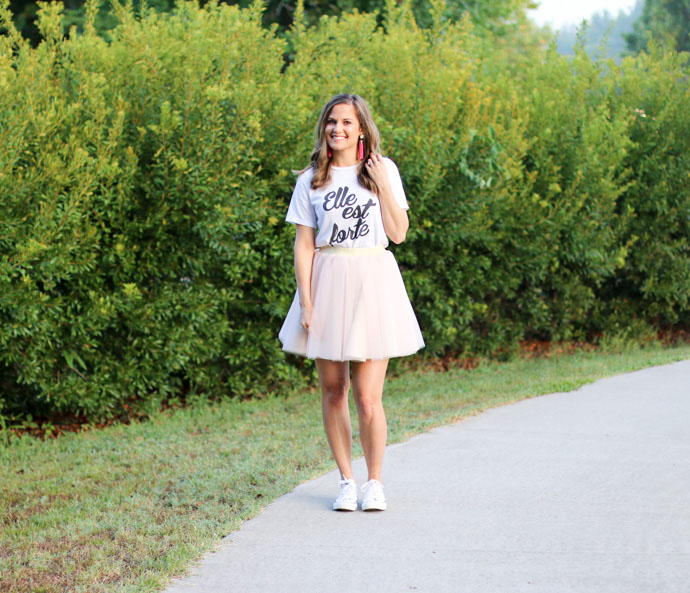 graphic t-shirt tulle skirt