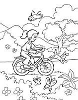 Bicajos kislány színező