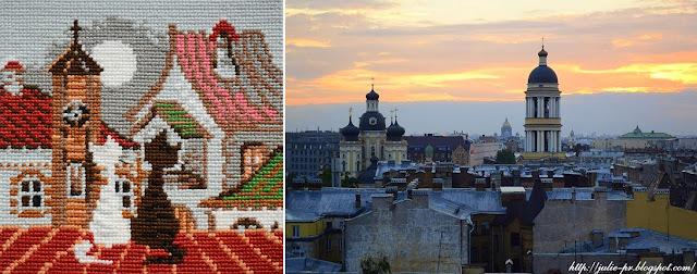 Riolis 611, кошки на крыше, риолис кошки весна, вышивка, вышивка крестом, крыши Питера, Петербург крыши