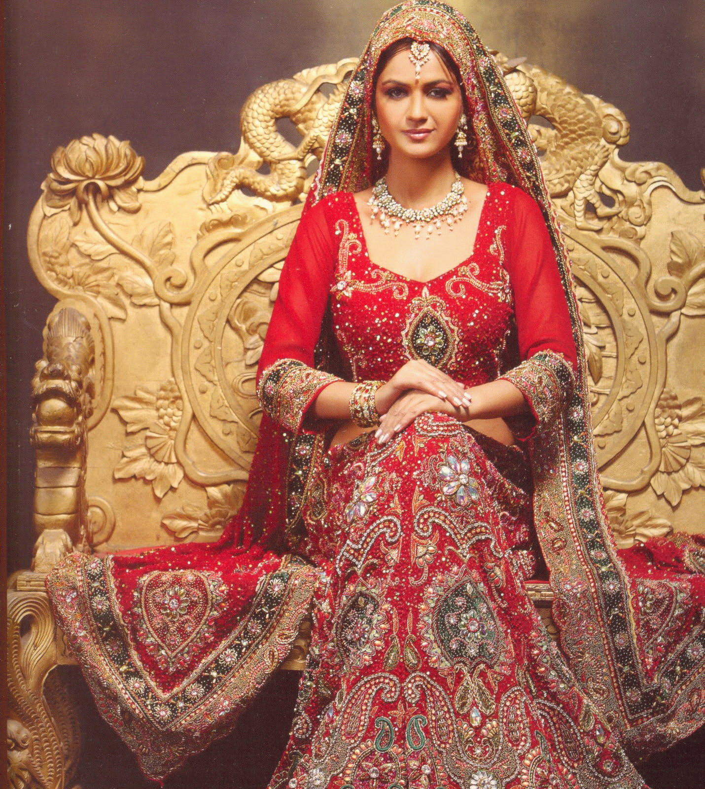 Pakistani Bridal Dresses 2014 for Walima for Nikha Red and