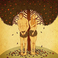 Adam and Eve Covered in Leaves