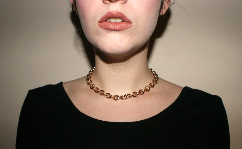MAC Velvet Teddy worn with chain necklace