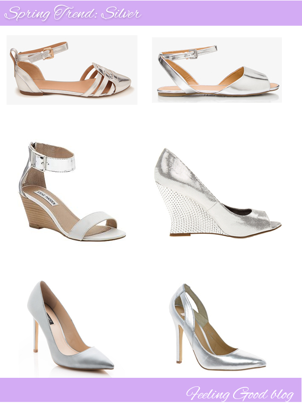 silver shoes, silver, heels, pumps, flats, forever 21, piperlime, shoemint