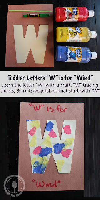 Toddler/Preshooler letter of the week craft W is for Wind with related craft, tracing sheets and fruits/vegetables.