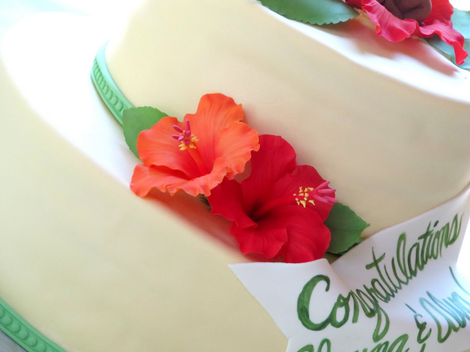 Hibiscus baby shower cake renee conner cake design izmirmasajfo