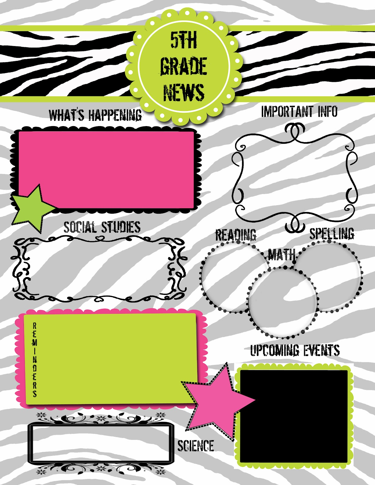 5th grade newsletter template - krazy 4 writing