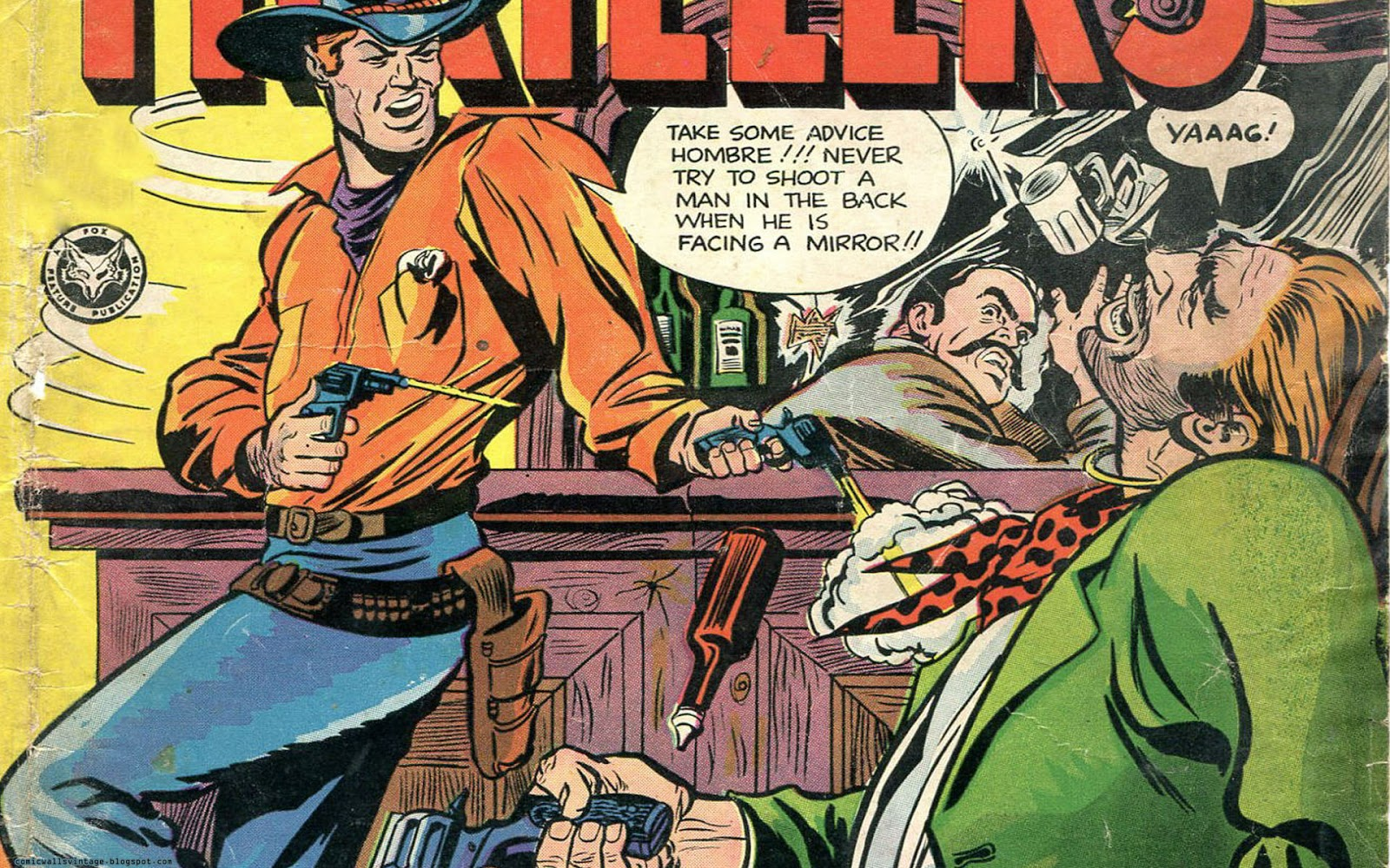 Western Thrillers (Vintage Comic Wallpaper) Vintage Comic Book Background