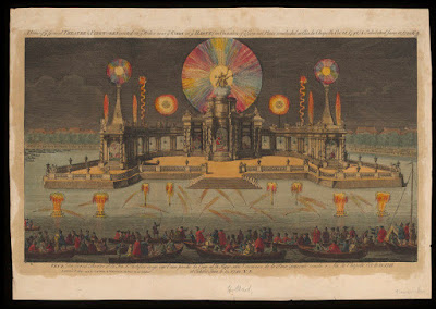The Grand Theatre and fireworks erected on the water near Court at the Hague, on occasion of the general peace concluded at Aix la Chapelle on 18 October 1784. © Victoria and Albert Museum, London