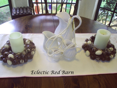 Eclectic Red Barn: Easter egg candle holders and white ironstone pitchers with pearls