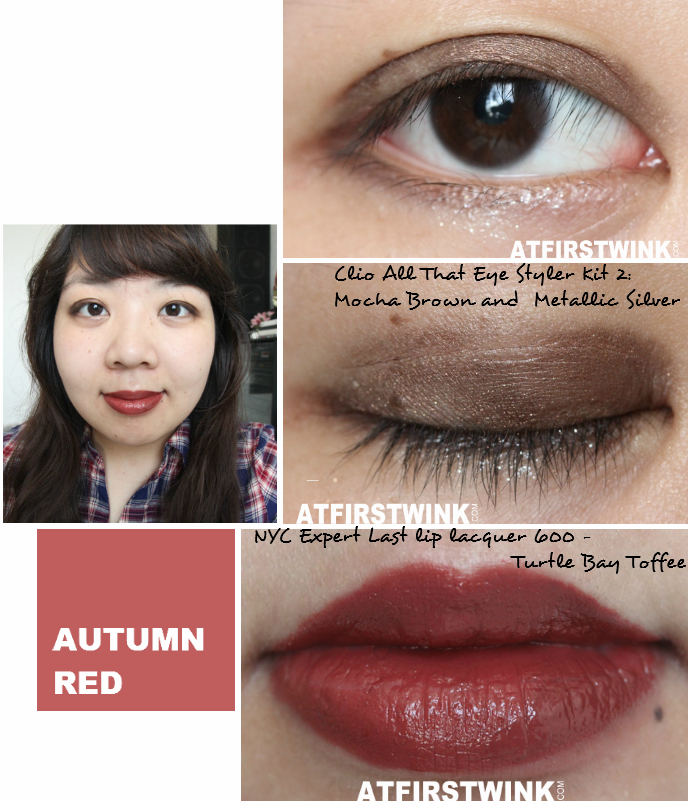 Makeup look 3: Autumn Red, used the Clio All That Eye Styler Kit 2: Mocha Brown and Metallic Silver and the NYC Expert Last lip lacquer 600 - Turtle Bay Toffee