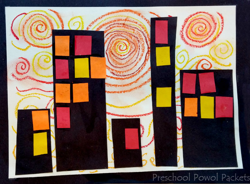 Superhero Cityscape Art Project with Van Gogh | Preschool Powol ...