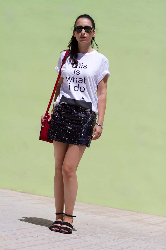 Comfy outfit with sequined skirt and mini wedges