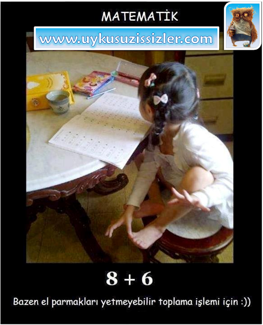 Matematik - Bazen el parmakları yetmeyebilir toplama işlemi için. www.uykusuzissizler.com