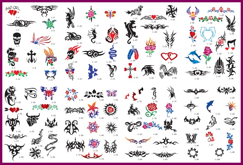 Airbrush tattoo stencil gallery sheet 01