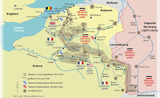 Map of the 1914-1918 Western Front Battlefields - Courtesy of www.greatwar.co.uk