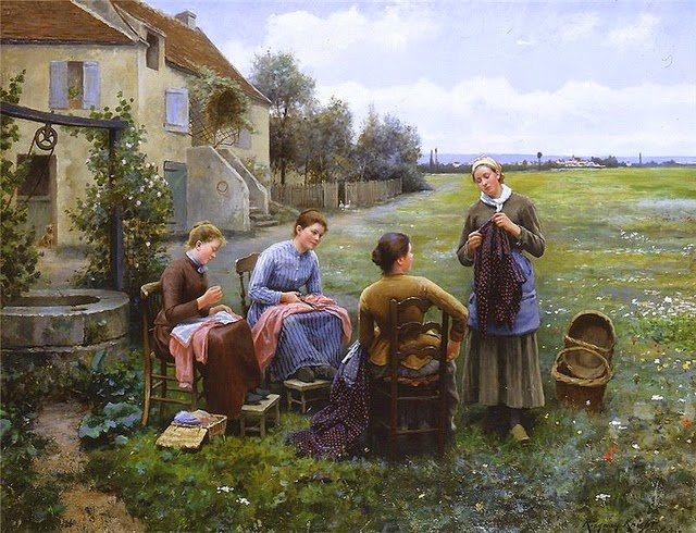 """The Sewing Circle"" by Daniel Ridgway Knight (1839-1924)"
