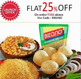 Flat 25% off on Bikano Namkeens , Sharbats , Cookies and More