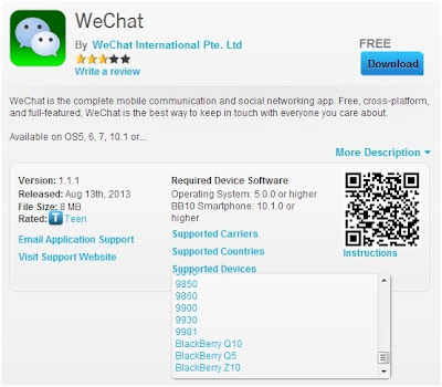 WeChat on BlackBerry World