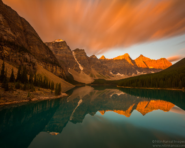 Moraine Lake at Dawn before snow storm, Banff National Park, Canadian Rockies, Alberta, Canada