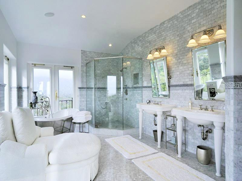 See this house an 8 million mediterranean estate in for Marble master bathroom