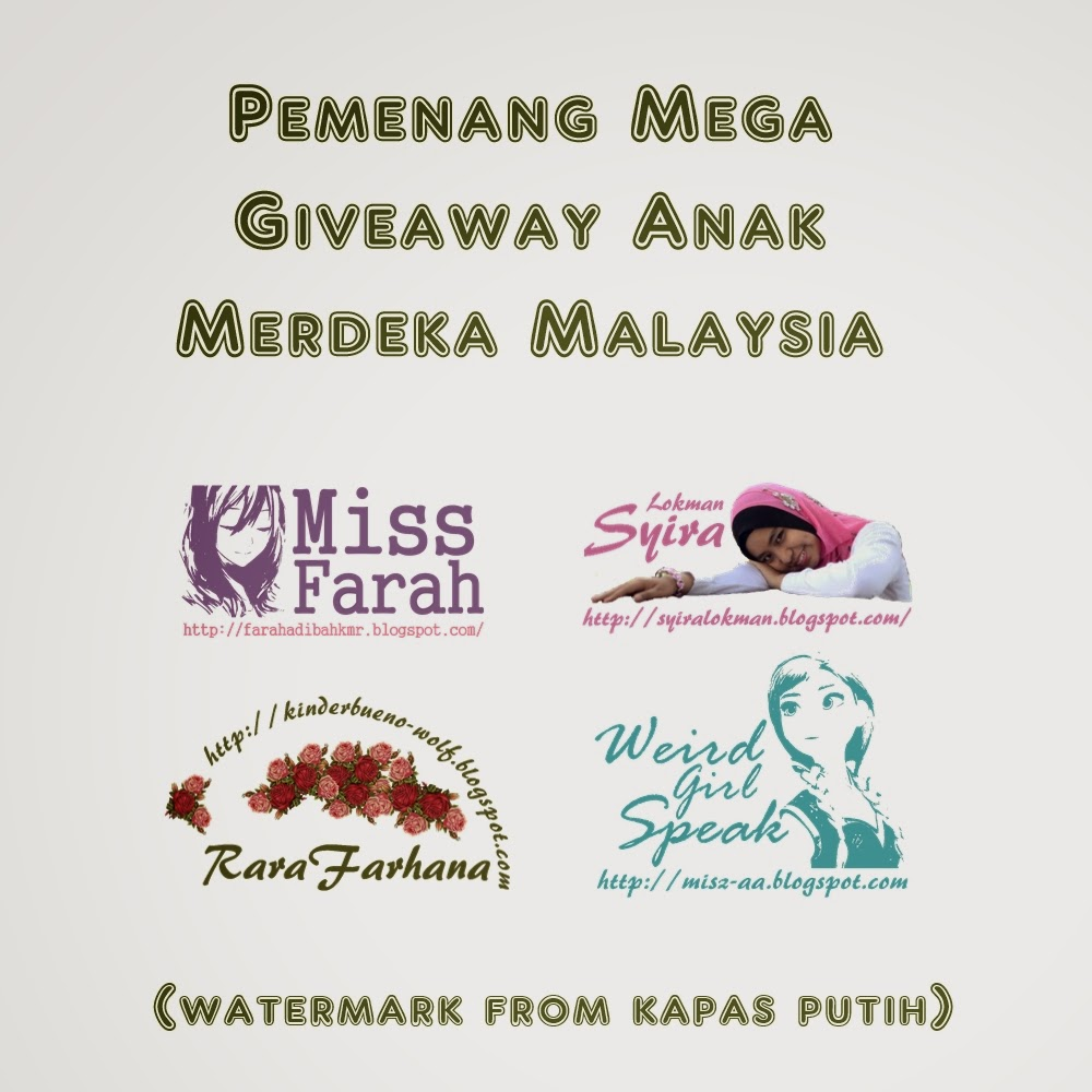 Pemenang Mega Giveaway Anak Merdeka Malaysia