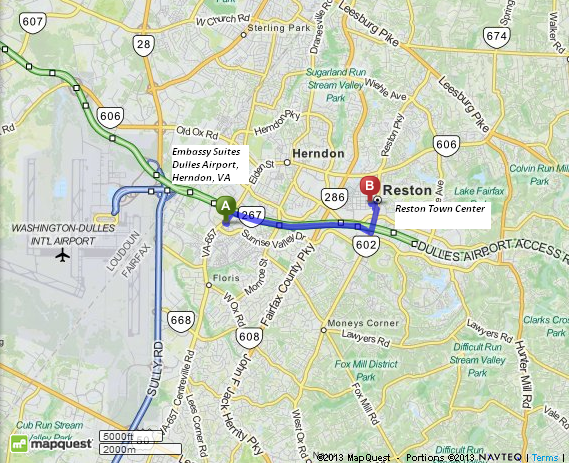 Driving Directions from Embassy Suites Dulles Airport to Reston Town Center