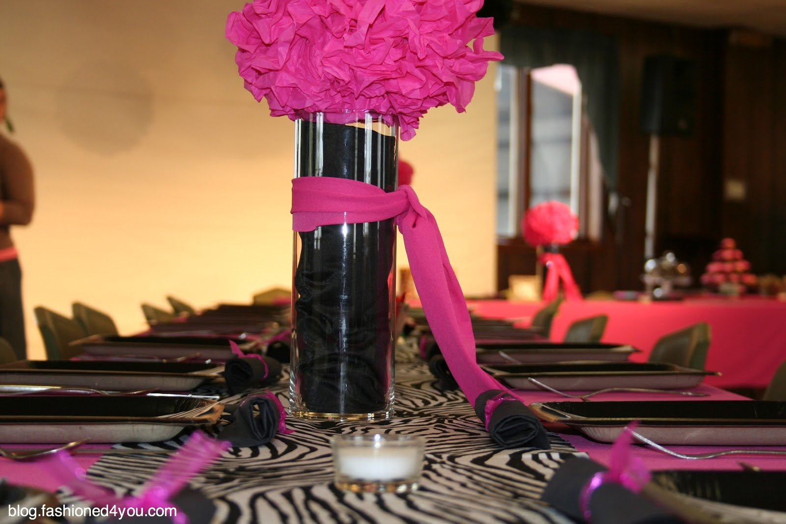 I Decided On A Bright Pink Gauze Like Fabric For The Tablecloths And A Zebra  Print Runner.