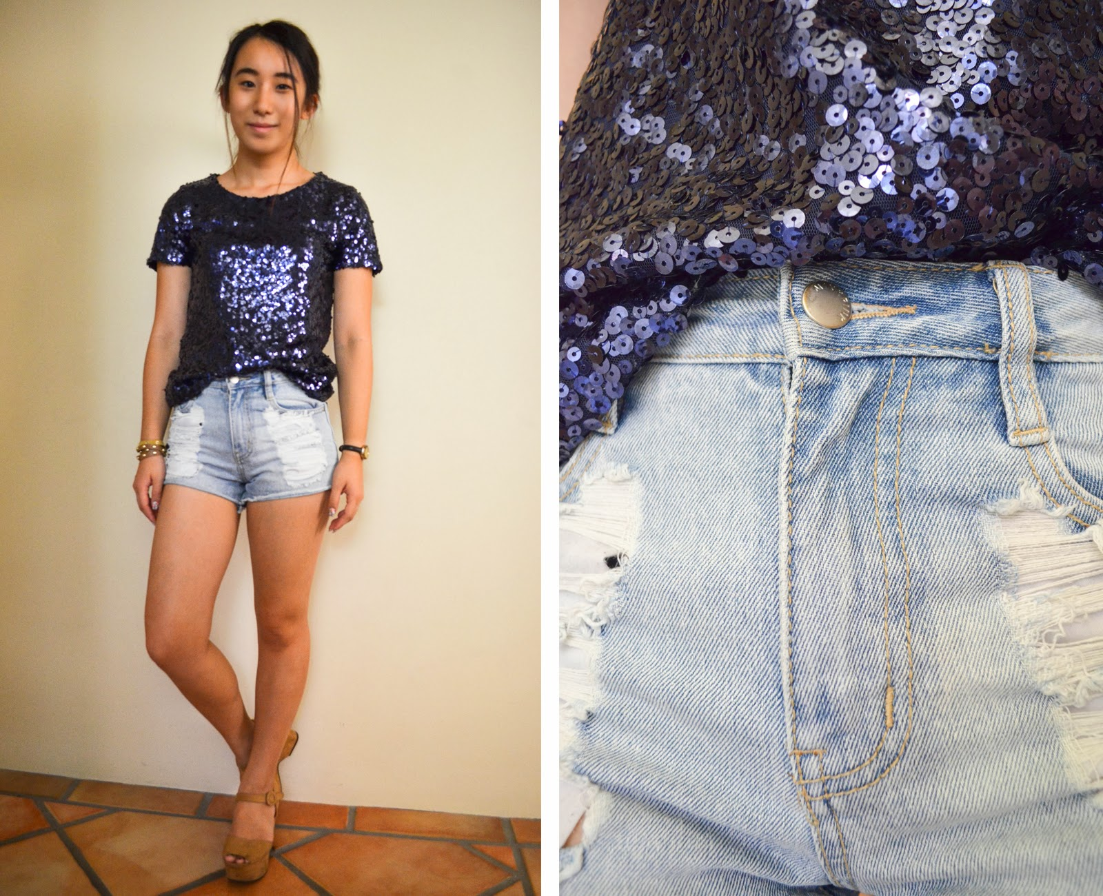 casual look outfit blue shirt top sequin navy shorts denim distressed ripped one teaspoon bracelet watch flatform nude brown tan heel shoes