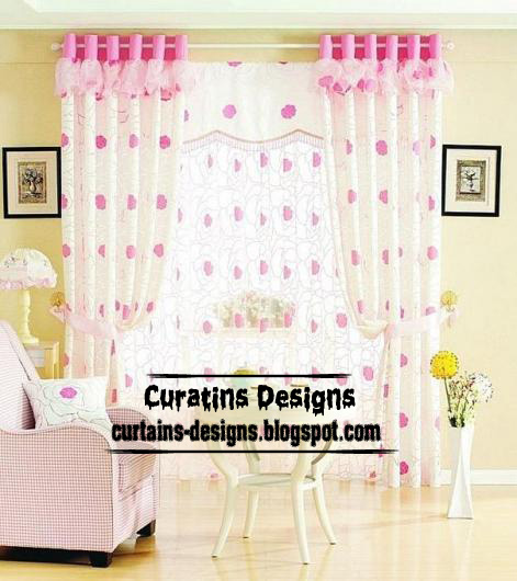 Modern girls curtain pink and white stylish model