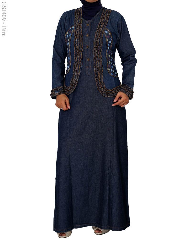 Gamis jeans over all gsj409 busana muslim murah terbaru Baju couple gamis denim